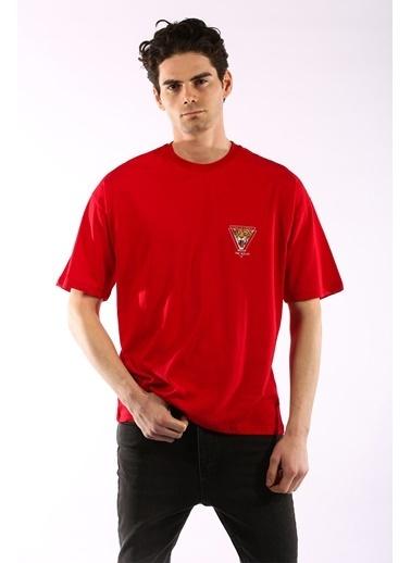 Rodrigo 3866 Aslan Baskı Oversize Erkek T-Shirt Kırmızı